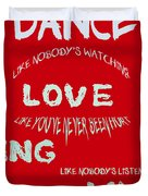 Dance Like Nobody's Watching - Red Duvet Cover by Nomad Art And  Design
