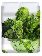 Dark green leafy vegetables in colander Duvet Cover by Elena Elisseeva