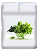 Dark Green Leafy Vegetables In Colander Duvet Cover by Elena Elisseeva