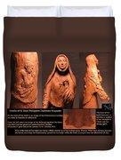 Details Of Symbols On Saint Rose Philippine Duchesne Sculpture. Duvet Cover by Adam Long