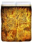 Dragon Painting On Old Paper Duvet Cover by Setsiri Silapasuwanchai