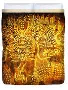 Dragon painting on old paper Duvet Cover by Setsiri Silapasuwanchai