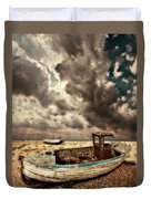 Dreamy Wrecked Wooden Fishing Boats Duvet Cover by Meirion Matthias