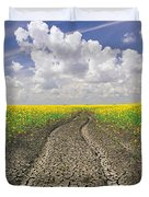 Dried Up Machinery Tracks Duvet Cover by Dave Reede