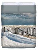 Drifting Snow Along The Beach Fences At Nauset Beach In Orleans  Duvet Cover by Matt Suess
