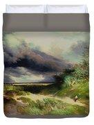 East Hamptonlong Island Sand Dunes Duvet Cover by Thomas Moran
