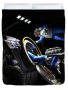 Explorers In Space Suits Exit An Duvet Cover by Walter Myers