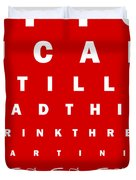 Eye Exam Chart - If You Can Read This Drink Three Martinis - Red Duvet Cover by Wingsdomain Art and Photography