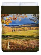 Fall Colours, Cows In Field And Mont Duvet Cover by Yves Marcoux