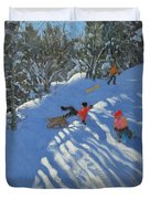 Falling off the Sledge Duvet Cover by Andrew Macara