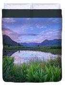 False Hellebore Surrounded Pond Duvet Cover by Tim Fitzharris