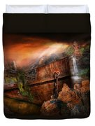 Fantasy - Ship Wrecked Duvet Cover by Mike Savad
