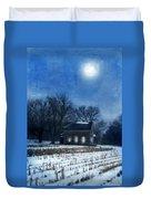 Farmhouse Under Full Moon In Winter Duvet Cover by Jill Battaglia