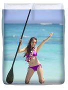 Female Stand Up Paddler Duvet Cover by Tomas del Amo