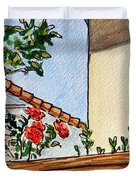 Fence And Roses Sketchbook Project Down My Street Duvet Cover by Irina Sztukowski
