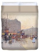 Figures In The Place De La Bastille Duvet Cover by Eugene Galien-Laloue