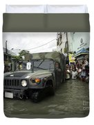 Filipino Citizens Stand In Line Duvet Cover by Stocktrek Images