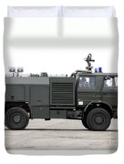 Fire Engine Of The Belgian Army Located Duvet Cover by Luc De Jaeger