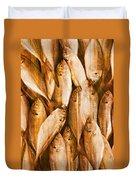 Fish Pattern On Wood Duvet Cover by Setsiri Silapasuwanchai