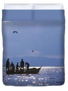 Fishermen Pulling Fishing Nets On Small Duvet Cover by Axiom Photographic