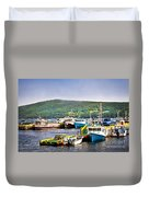Fishing Boats In Newfoundland Duvet Cover by Elena Elisseeva