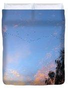 Flight Into The Sunset Duvet Cover by Ausra Paulauskaite