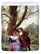 Flirtation Duvet Cover by Georges Jules Auguste Cain