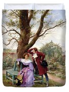 Flirtation Duvet Cover by Georges Jules Auguste Cain