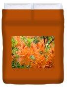 Floral Art Prints Orange Rhodies Flowers Duvet Cover by Baslee Troutman