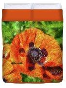 Flower - Poppy - Orange Poppies  Duvet Cover by Mike Savad