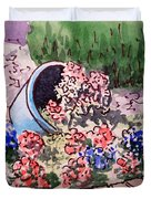 Flower Bed Sketchbook Project Down My Street Duvet Cover by Irina Sztukowski