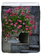 Flowers On The Steps Duvet Cover by Mary Machare