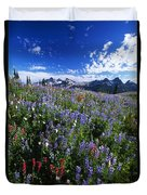 Flowers With Tattosh Mountains, Mt Duvet Cover by Natural Selection Craig Tuttle
