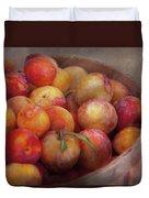 Food - Peaches - Farm Fresh Peaches  Duvet Cover by Mike Savad