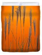 Fountain Grass In Orange Duvet Cover by Steve Gadomski