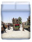 Free Libyan Army Troops Pose Duvet Cover by Andrew Chittock