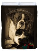 Friendship Is The Greatest Gift Of All Greeting Duvet Cover by DigiArt Diaries by Vicky B Fuller