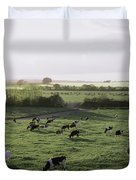 Friesian Bullocks, Ireland Herd Of Duvet Cover by The Irish Image Collection