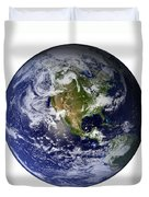 Full Earth Showing North America White Duvet Cover by Stocktrek Images