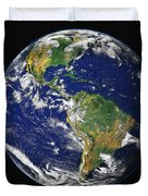 Full Earth Showing The Western Duvet Cover by Stocktrek Images
