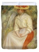 Gabrielle in a Straw Hat Duvet Cover by Pierre Auguste Renoir