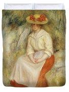 Gabrielle In A Straw Hat Duvet Cover by Pierre Auguste Renoir