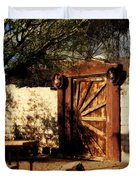 Gate To Cowboy Heaven In Old Tuscon Az Duvet Cover by Susanne Van Hulst