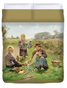 Gathering Flowers Duvet Cover by Joseph Julien