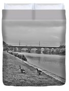 Geese Along The Schuylkill River Duvet Cover by Bill Cannon