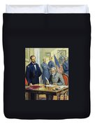 General Ulysses Grant Accepting The Surrender Of General Lee At Appomattox  Duvet Cover by Severino Baraldi