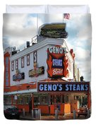 Geno's Steaks - South Philadelphia Duvet Cover by Bill Cannon