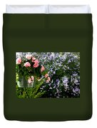 Geranium And Lilac Painting Duvet Cover by Will Borden