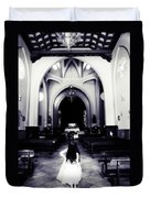 Girl In The Church Duvet Cover by Jenny Rainbow