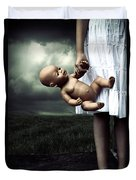 Girl With A Baby Doll Duvet Cover by Joana Kruse